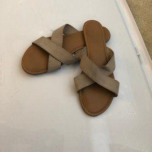 Tan Strappy Slides